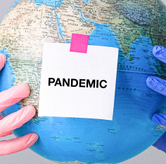 "banner with ""pandemic"" written on it"