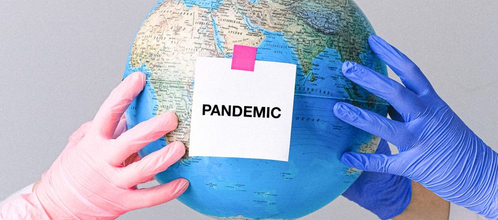 """banner with """"pandemic"""" written on it"""